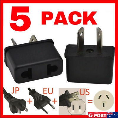 5 x USA EU EURO ASIA to AU AUS AUST AUSTRALIAN POWER PLUGs TRAVEL ADAPTER
