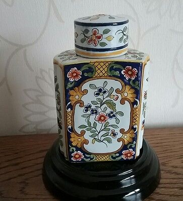 French Faience Tea Caddy Rouen Quimper Ch Fourmaintraux-Courquin lid AF antique