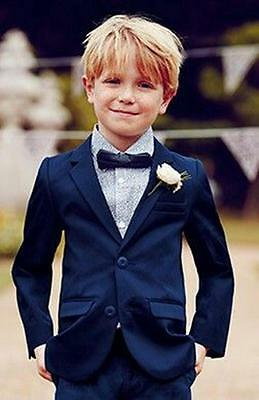 Popular Navy Wedding Boy Suits Page Boy Tuxedos Jacket+Pants Communion Fit Suits
