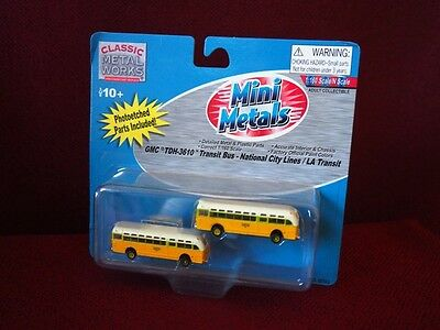 *NEW* N scale Mini Metals GMC Transit Bus - LA Transit/National City pack of 2