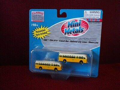 *NEW* N scale Mini Metals GMC Transit Bus - National City Shore Line pack of 2