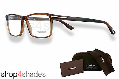 Tom Ford Shiny Dark Brown to clear Unisex Square Glasses Optical Frame FT 5408 0