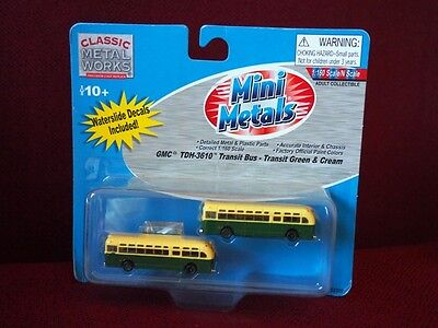 *NEW* N scale Mini Metals GMC Transit Bus - Green & Cream w/ decals pack of 2