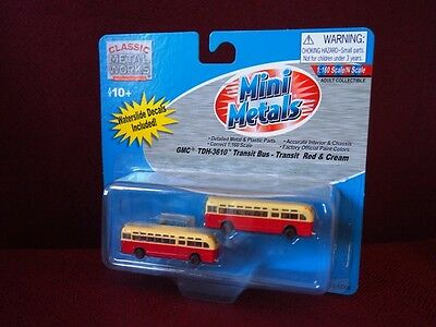 *NEW* N scale Mini Metals GMC Transit Bus - Red & Cream w/ decals pack of 2