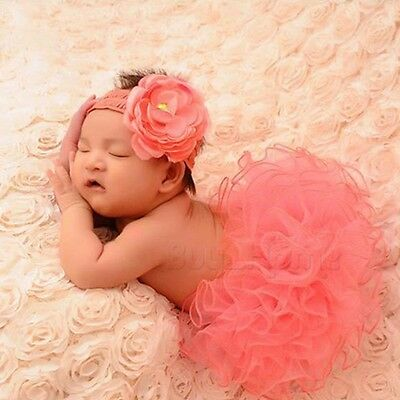 Newborn Baby Tutu Clothes Skirt Headdress Flower Photo Photography Prop Outfit!