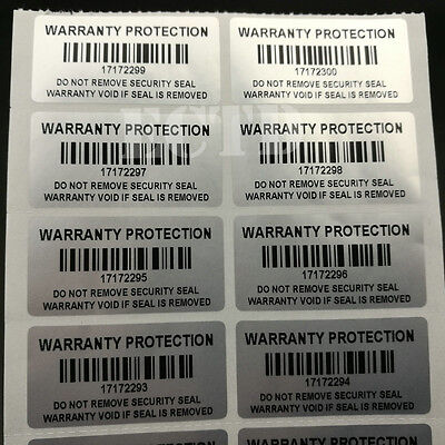 Warranty Protection Sticker Barcode With serial number Tamper Proof VOID sticker
