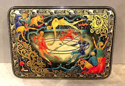 "Russian Palekh Papier-Mache Lacquer Box ""hockey ""signed .a. Zhiriakov 2003"