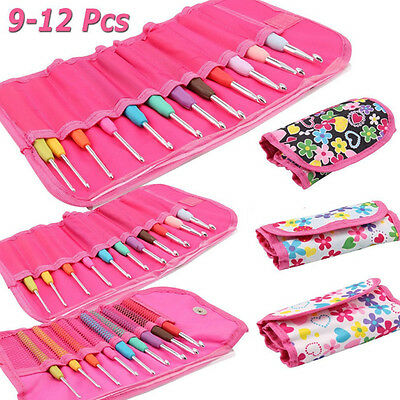 9-12 Pcs Set Multi Colour Soft Handle Aluminum Crochet Hooks Knitting Needles