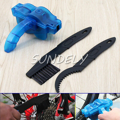 Portable Mountain Bicycle Road Bike Chain Cleaner Wash Tool Scrubber Kit