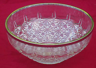 Lovely Vintage Antique Fostoria 'Valkyrie' Lge Glass Salad Bowl *Silverplate Rim