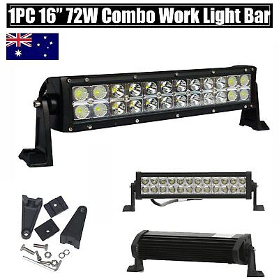 "72W 16"" Cree LED Work Light Bar Flood Spot Combo Beam Offroad Fog Lamp Jeep SUV"