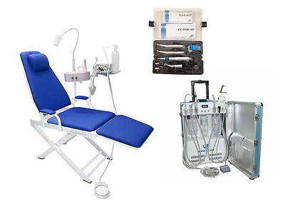 Dental Portable Unit with Air Compressor + Dental Chair + High&Low Handpieces 4H