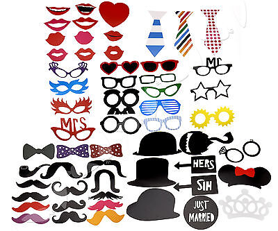 58-in-1 DIY Photo Booth Props Glasses Tie Lips Weddings Christmas Birthday Party