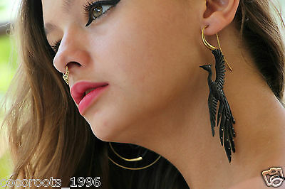 Dangle Horn Earring Brass Tribal Fake Gauge Black Phoenix Women Gold Handmade