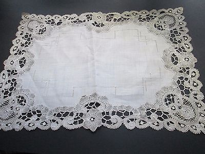 Antique  handmade  lace runner from  white cotton Brugge lace-linen senter