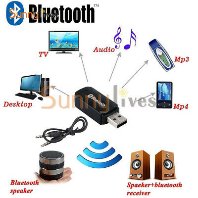 USB Bluetooth Receiver Adapter Wireless 3.5mm AUX Stereo Audio Music Home Car