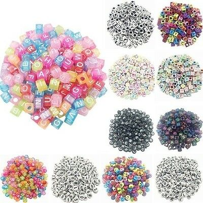 100pcs/lot Handmade Round Square Colorful  Alphabet/ Letter Acrylic Beads for DI