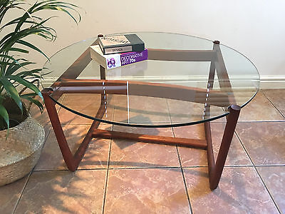 Mid century vintage retro 1960s 1970s teak glass floating top coffee table