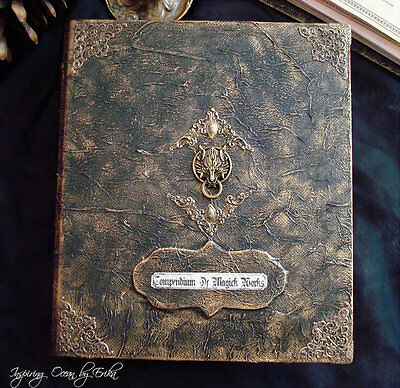 Book of shadows Grimoire binder, book cover A5 size with wolf door knock