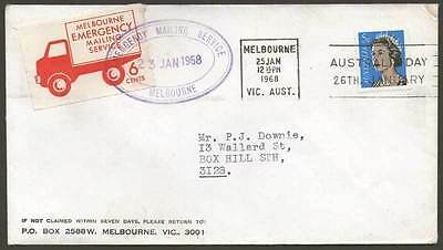 1968 Melbourne Emergency Mailing Service - On Cover