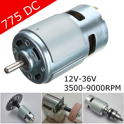 775 DC 12V-36V 3500-9000RPM Large Torque Low Noise High Speed Motor Ball Bearing