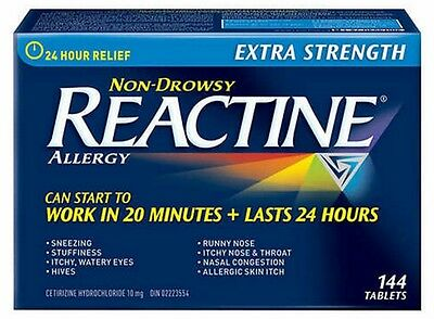 REACTINE Extra Strength - 144 Tablets. Non Drowsy. Expiry Oct 2018. Only 5 Left