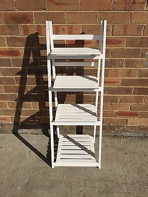 White Wooden Ladder Shelf 4tier Stand Storage Shelving Display Rack