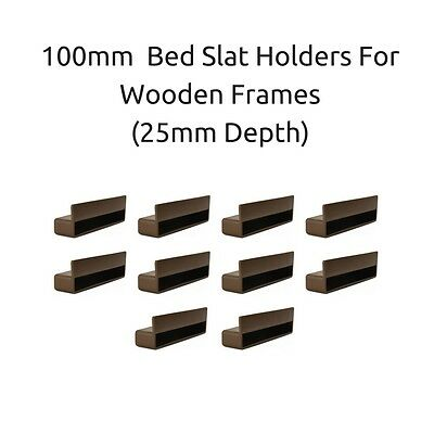 100mm x 12mm x 25mm Depth Single Bed Slat Holders / Caps Wooden Bed Frames Brown