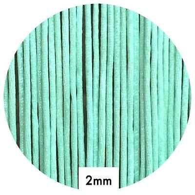 10m MINT GREEN satin nylon cord 2mm for silicone jewellery necklace keyring DIY