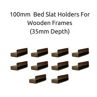 100mm x 12mm x 35mm Depth Single Bed Slat Holders / Caps Wooden Bed Frames Brown