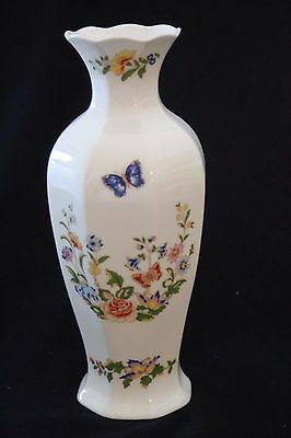 "Vintage AYNSLEY Bone China ""Cottage Garden"" White Floral Vase w/ Butterflies 9"""
