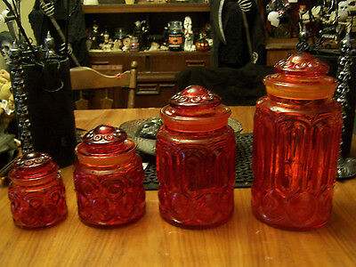 Le Smith Lot Of 4 Red Glass Canister Jars Moon And Stars Old Vintage Rare Set