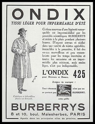 Publicite   Burberrys Burberry Ondix Impermeable Mode Fashion  Ad  1932 -2H