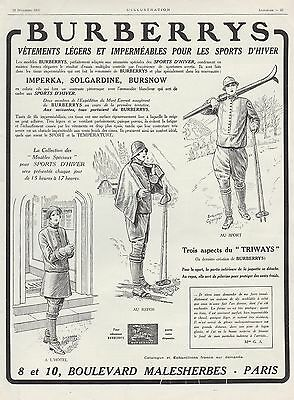 Publicite Burberrys Burberry Sports D' Hiver Ski  Mode Fashion  Ad  1925 - 2H