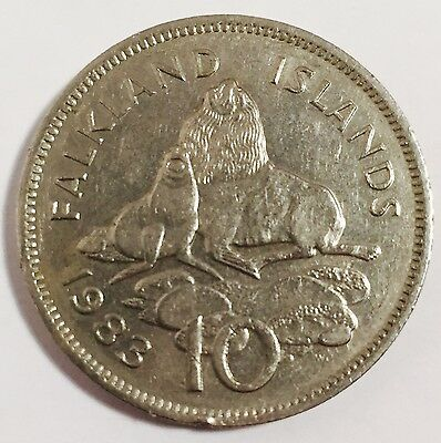 1983 Falkland Islands 10 Pence Coin - QEII - UK