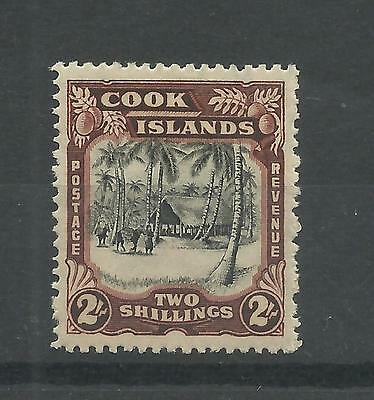 COOK ISLANDS 1938  GV1 2/- Native Village   mounted mint