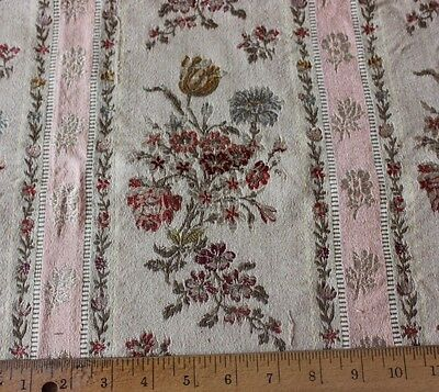 Antique 19thC French Silk & Cotton Pink Floral Home Jacquard Fabric Stripe