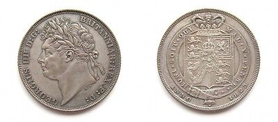 George Iv 1823 Silver Shilling - Very Rare Key Date - High Grade