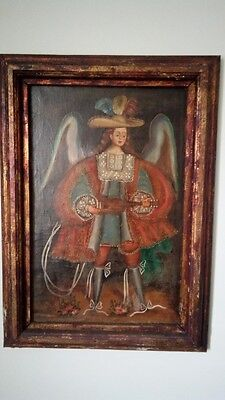 Cuzco oil painting, early 1900s. Archangel Annunciator. School of Cuzco Peru.