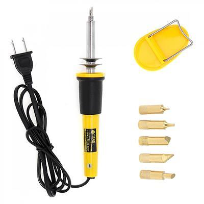 US AC 110V 40W Burning Soldering Iron Wood Pyrography Pen with 5 Solder Points