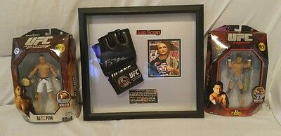 UFC Framed BJ PENN Signed Glove Autographed & 2 Jakks Pacific Action Figures-MMA