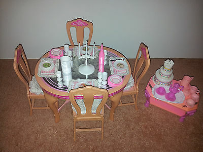 Vintage 1987 Barbie Sweet Roses Dining Table & Chairs & Coffee/Tea Furniture