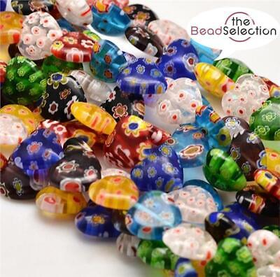 15 or 30 HEART FLOWER MILLEFIORI GLASS BEADS 8mm
