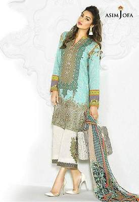 Asim Jofa Unstitched Embroidered Luxury Lawn Collection Blue 2017 Eid Inspired
