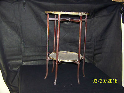 Chinese Qing Dy Hand Carved Brass Side Table w/Rosewood Legs
