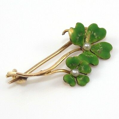 Vintage Estate Four Leaf Clover Seed Pearl Green Enamel Antique Pin Brooch RQ5