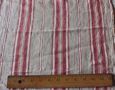 Old Antique French Farm Linen Ticking Stripe For Pillows Or Design c1870-1880
