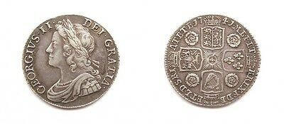 George Ii 1741 Silver Shilling - Roses In Angles - Higher Grade