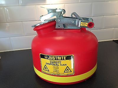 Justrite 14722 2 GAL (7.5 Liters) safety disposal can for flammable liquids
