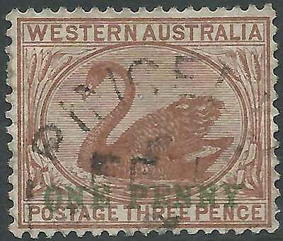 WESTERN AUSTRALIA 1893 Swan 1d on 3d Brown ACSC27 cv$25 attractive fine used